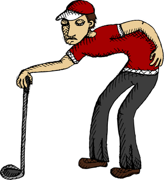 Golfer with poor posture and hurt Back